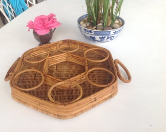 RATTAN BEVERAGE TRAY / Sweet Rattan Beverage Tray / Rattan Wicker Tray / Bamboo Rattan Patio Tray /  Wicker Tray Patio at Retro Daisy Girl