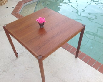 DANISH TEAK TABLE Vintage Mid Century Modern Teak Flip Top Dining Table / Danish Teak Table / Kibaek Mobelfabrik Table at Retro Daisy Girl