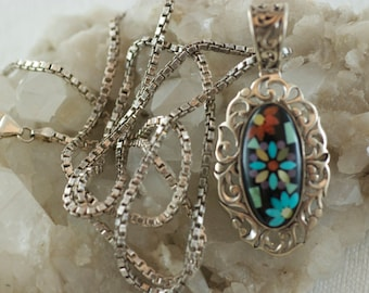 Vintage Sterling Silver Carolyn Pollack Inlaid Turquoise Mother of Pearl Coral Onyx Floral Cabochon Box Chain Pendant Necklace  .....6021