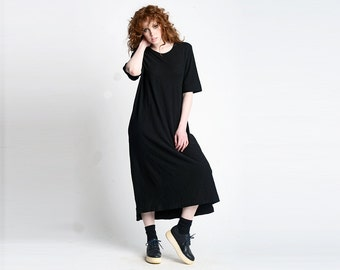 Simple Maxi Length Tee Dress | Black Cotton Minimal Long Tunic Shirt |  Oversized Tunic T-shirt Dress | Minimalist Clothing