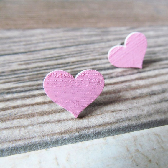 plastic, acrylic painted, earring, heart, light, pink, stainless steal hook, les perles rares,