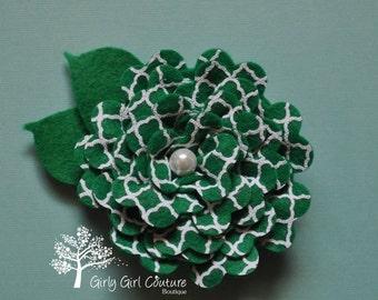 SUMMER SUPER SALE Green Quatrefoil Rose Felt Flower Clip