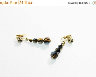 1960s Black Mink Swarovski Crystal Faceted Glass Beaded Dangle Earrings