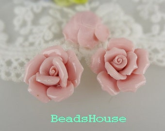 CR-25HM - 25mm Hand Made Ceramic Rose Flower - Shine Pink