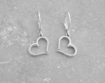Love Heart Earrings, dainty earrings, leverback earrings, dangle earrings, everyday earrings, minimalist jewelry, lightweight earrings