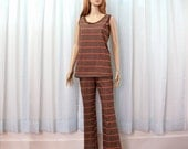 Vintage 1960s Bellbottoms Tank Top Brown Stripe Woodstock Era Hiphugger Bell Bottoms with Top / Extra Small