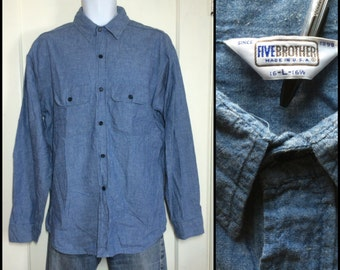 Vintage 1970's Blue Chambray Work Shirt size Large all Cotton Five Brother made in USA