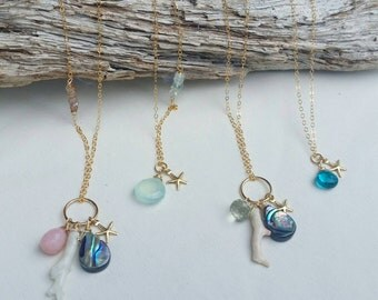 Gold fill gemstone and shell charm necklace