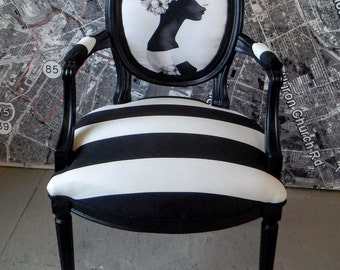Vintage Louis chair accent side art black and white abstract stripe