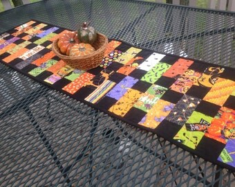 Halloween Stepping Stones 13x47 quilted table runner