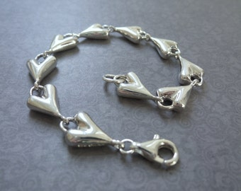 RLM Studio Vintage Heart Bracelet, Sterling Silver Heart Sculpture Bracelet, RLM Studio Vintage, Silver Heart Bracelet, Silver Heart Links