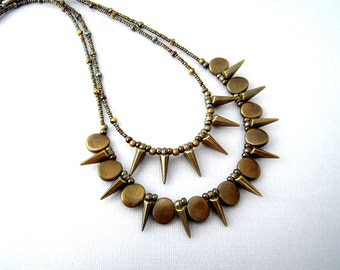 Spike Statement Necklace, Beaded Spike Necklace, Bronze Multi Strand Layered Necklace, Edgy Indie Rocker Jewelry, Handmade Unique Necklace