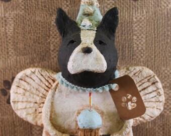Boston Terrier Birthday Angel,OOAK, handmade from paper mache, BOSTON TERRIER Birthday