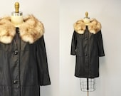 Leather Coat Fox Fur ROCKER hipster collar indie winter fashion outerwear luxury car coat IngridIceland Large