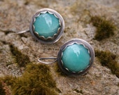 Amazonite Sterling Silver Oxidized Boho Gypsy Dangle Aqua Blue Earrings
