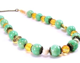 Gemstone Jewelry Necklace ~ Riverstone Green and Light Amber Boho Rustic Beaded Necklace ~ Beaded Jewelry for Her~ Handmade Gemstone Jewelry