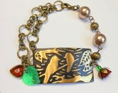 Bird Bracelet,Metal Bird on a Branch,Vintage Brass Bird Bracelet