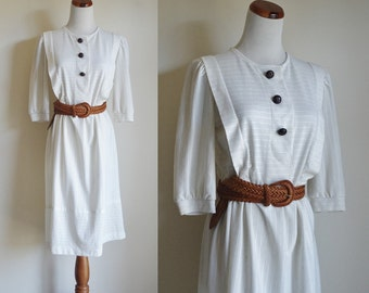 Vintage Dress, 80s Dress, Cream Dress with Brown Buttons, Smock Front Button Down, Three Quarter Length Sleeves, Petite Medium Large AS IS