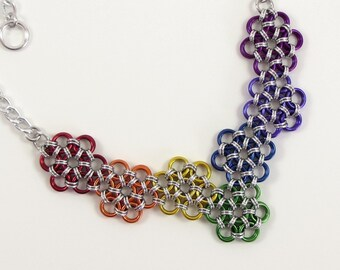 Rainbow Flower Necklace, Chain Mail Necklace, Rainbow Chainmaille Jewelry, Japanese Chainmail, ROYGBIV Necklace, Multi Color Necklace
