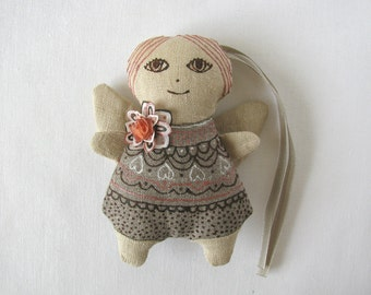 Linen angel - linen ornament decorated with silk flower from handpainted silk - peach, cream, ivory