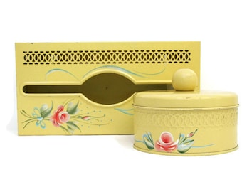 Vintage Vanity Set / Yellow Tissue Box / Yellow Powder or Trinket Container - Hand Painted / Mid-Century Mod Decor
