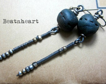 Zen. dangle earrings assemblage boho  tribal blue rustic beads