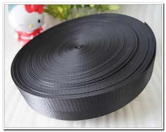 "5 yards of nylon webbing 2cm(7/8"") 1 inch(1"")1.25 inch(1-1/4""),1.5 inch(1-1/2""),2 inch(2"") bag strap purse strap handbag strap black"