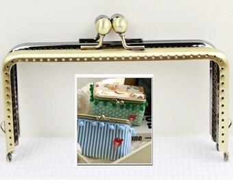 6 inch kiss lock long feet frame clip frame purse metal frame metal clutch gunmetal finidh,antique brass finish