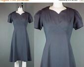 40% OFF 70s does 40s Dress Vintage Dark Navy Blue Cotton Gabardine Short Puff Sleeve Day Homemade L