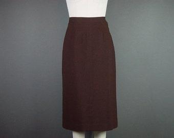 40% OFF 40s 50s Brown Skirt Vintage Wool Gabardine Straight Dress M W 29 H 40