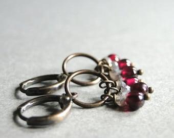 Jewelry Earrings / Gemstone Earrings / Garnet Moonstone Earrings / Dangle Earrings / Gemstone Earrings / Gift for Her / Drop Earrings