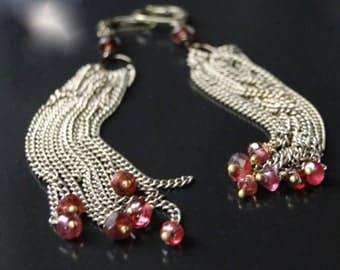 Jewelry Dangle Earrings, Jewelry Chain, Garnet Gemstones, Accessories  Steampunk Accessories, Gift Box