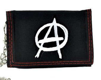 White Anarchy Sign Tri-fold Wallet w/ Chain Punk Rock Clothing - PA-323-WALLET