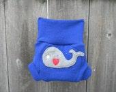 Upcycled Wool Soaker Cover Diaper Cover With Added Doubler Royal Blue  With Whale Applique NEWBORN 0-3M Kidsgogreen