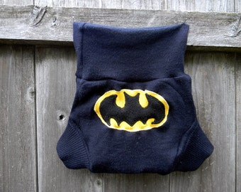 Upcycled Merino Wool Soaker Cover Diaper Cover With Added Doubler Navy Blue With Batman Applique LARGE 12-24M Kidsgogreen