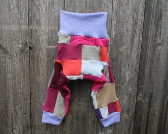 MEDIUM Upcycled  Wool Longies Soaker Cover Diaper Cover With Added Doubler Girly Colors Patchwork With Heart Applique MEDIUM 6-12M