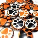 """Tiger Paw, 1"""", Button, Tiger, Tiger Mascot, Tiger Paw Print, Tiger Button, Tiger Pin, Paw Print Pinback, Orange and Black Tiger, Paw Patch"""