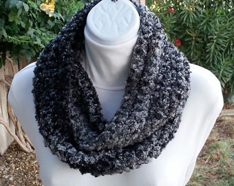 Black and Gray Small Skinny Lightweight Winter Infinity Scarf Loop Cowl, Striped Crochet Knit Grey Boucle, Thick Neck Warmer, Ready to Ship