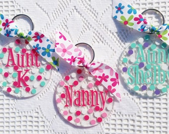 Personalized  Key Chain - Monogrammed Name or Initial - Acrylic Key Ring - Back to School - Sweet 16 - Luggage Tags - Polka Dots