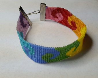 Rainbow Waves Thin Cuff Bracelet