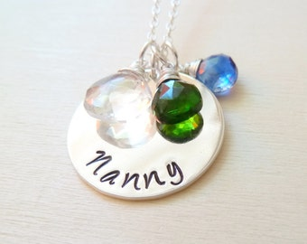 Nanny necklace with any Birthstone. Please customize your own. Sterling silver personalized gift for grandmother. Christmas gift.