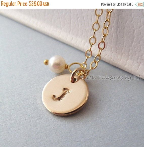 """SALE Personalized Initial gold necklace. 10mm, 3/8"""" disc. Gold necklace. Bridesmaids keepsake gift. Wedding. Bridal gift. Gift. Layering nec"""