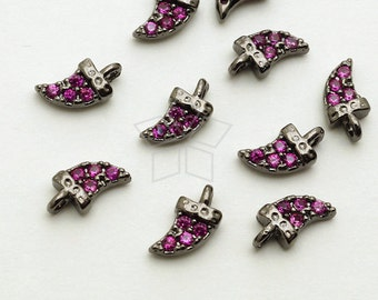 PD-1530-GM / 2 Pcs - Tiny Mini Delicate CZ Tooth Charm, Horn Pendant (Ruby), Black Plated over Brass / 3.4mm x 6.4mm
