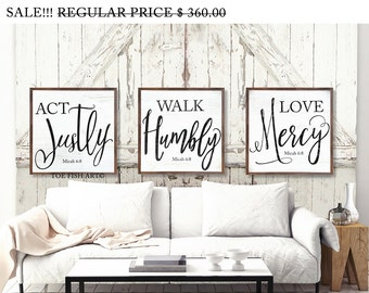 Act Justly, Love Mercy, Walk Humbly Micah 6:8  - Includes All 3 signs