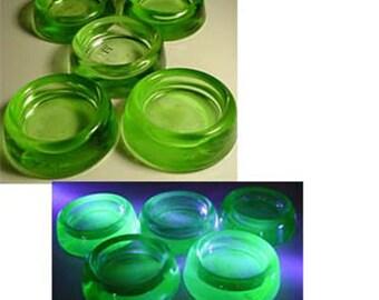 Uranium/Vaseline Glass Five Furniture Coasters or Sliders Hazel Atlas Home and Garden Household Supplies Furniture Floor Protectors