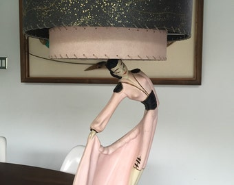 1950s Atomic Chalkware Female Matador Lamp Pink Black- Pick Up Only