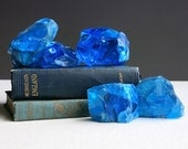 Vintage Blue Glass Cullet - Factory Waste Glass - Paperweight Instant Collection of Five Sapphire Glass Chunks - Bookends Table Decoration