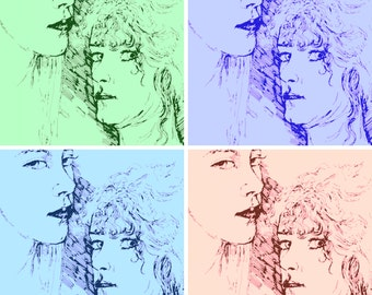 POP ART Portrait Print,12 x 12, Hand-signed, Women Faces,Wall Art, Room Decor,Pen and Ink Drawing by artist Patty Fleckenstein