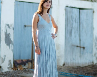 Long Vintage Blue Linen Dress / Maxi / Summer Dress / Pure Linen / Crinkled Linen / Boho Beach Dress / Hand Made