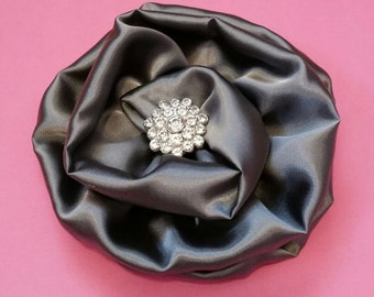 Silver Gray Black Satin Rhinestone Brooch Pin
